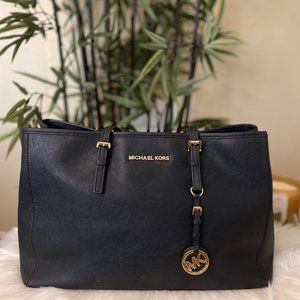 Black Michael Kors Saffiano Leather Tote Bag